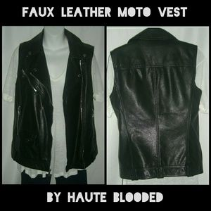Express Faux Vegan  Leather Moto Vest Black Biker